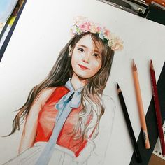 IU FanArt Color Pencil Art, Korean Artist, Korean Model, Her Music, Bts Jimin, Colored Pencils, Appreciation, Fanart, Drama
