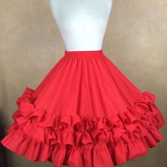 Red Ruffled Malco Modes Square Dance Skirt Size Small S #MalcoModes