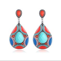 SPRING IS HERE. SHOW YOUR FASHION TASTE with these must-have #designerearrings. Get Yours Now:https://www.noblag.com/silver-tone-beaded-colorful-charm-drop-earrings.html