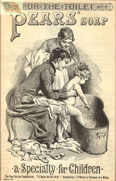 »Pears Soap - Old Vintage Ad - Repro - Women Putting Child in Tub