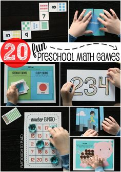20 Uber Fun Preschool Math Games. Hands-on activities teaching number recognition, counting, number writing, shape names and characteristics, patterns, sorting, colors, measurement... even addition and subtraction!