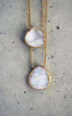 white agate druzy bezel necklace