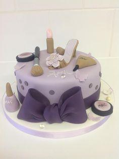 makeup cake Pretty Cakes, Cute Cakes, Fondant Cakes, Cupcake Cakes, Makeup Cakes, Shoe Box Cake, Girly Birthday Cakes, High Heel Cakes, Diva Cakes