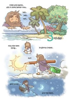 creation day by kokecit on DeviantArt Christian Comics, Christian Cartoons, Bible Crafts, Bible Art, Bible Verses, Bible Love, Bible For Kids, Jesus Cartoon, Jesus Drawings