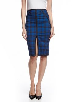 Love this black and blue, high-slit pencil skirt