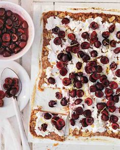 Rustic Cherry Tart with Ricotta and Almonds - Macerating cherries with sugar, lemon juice, and a pinch of salt brings out juices and softens the fruit -- which in turn evens out any inconsistencies in firmness. Scatter them over creamy ricotta and a crisp almond pastry crust. Pass any remaining juices for drizzling.