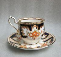 ROYAL ALBERT COBALT BLUE w GOLD TRIM TEA CUP & SAUCER ROYALTY old pattern 1950's
