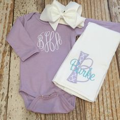 b0c64c8be24e Items similar to Monogrammed baby girl coming home outfit