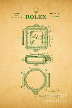Pin by prints for walls on patent and blueprint fine art prints 1941 rolex watch patent 2 canvas print canvas art by nishanth gopinathan malvernweather Choice Image