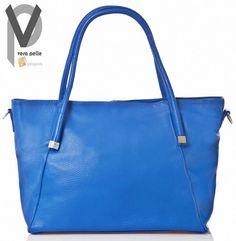 Vera Pelle Shopper 40cm Leder Henkel Trageriemen Handtasche Grün Blau Apropos
