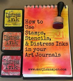 Distress ink art journal tutorial (Step X Step Guide) One of my favorite things to do with distress inks is blend them for project backgrounds. In this project I used a combination of distress inks, stencils, and stamps. The large M-Measure stamp is f… Mix Media, Mixed Media Art, Mixed Media Journal, Mixed Media Tutorials, Mixed Media Techniques, Art Techniques, Art Journal Pages, Art Journals, Art Journal Backgrounds