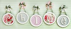 Circle Scalloped Edge Framed Wooden Letters -- easily DIY with embroidery hoops.