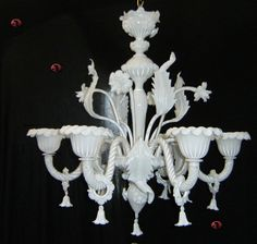 Murano Glass Flertosi 6 light Silk White Venetian Chandelier