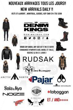 Rudsak, Mackage, Arctic North, Pajar... Denim Kings a reçu un large inventaire de vêtements d'hiver pour homme, femme & enfant! Venez choisir manteau, bottes, jeans, chandails, gants, etc. dès maintenant! Mackage, Rudsak, Arctic North, Pajar, D-Brand, Moose Knuckles, Palladium, Soïa & Kyo. | lesventes.ca