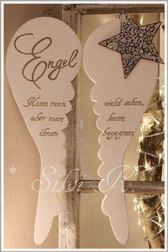 Asas de anjo XXL 47 cm para pendurar Shabby white - DIY and crafts - Christmas Wood, Christmas Time, Christmas Crafts, Christmas Decorations, Xmas, Christmas Ideas, Wood Crafts, Diy And Crafts, Diy Angel Wings