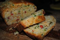 Jalapeno Cheddar Bread- This stuff is ridiculously good. It takes about 10 minutes to put together and most of that is chopping up the peppers.