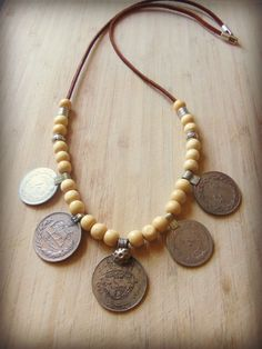 Tribal Multi Coin Necklace with Wood Beads by sweetfreedomshop