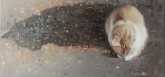 Jennifer Koning A perfect shadow cat portrait in oils