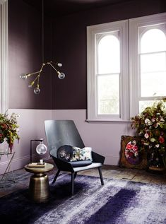 The Modern style has a colour palette of subtle and dark greys , brighter block colours mixed with the cooler most loved Dulux Whites. Dulux colours: Ngaruawahia, Amberley, Fendalton, Hakataramea.   #Dulux #houseenvy #interiordesign #design #homedecor #style #inspiration #interiorstyling #homedecoration #duluxnz #paint #painting #loungeinspiration #purplehues #purplecolourscheme #livingroominspiration