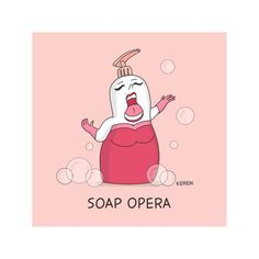 Funny Digital Print, Soap Illustration, Cute Poster, Opera Art Print .