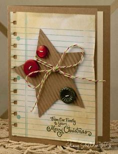Tied Star by JBgreendawn - Cards and Paper Crafts at Splitcoaststampers Merry Christmas Card, Noel Christmas, Handmade Christmas, Holiday Cards, Christmas Crafts, Button Christmas Cards, Star Cards, Button Cards, Theme Noel