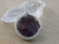 Beautiful Amethyst Cacoxenite Cabochon Wire Wrap by OurFrontYard