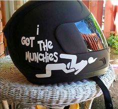 i-got-the-munchies-helmet-sticker. Haha I thought this was hilarious. But to see such a TOOL wear it on a helmet might make me crash my motorcycle because I would be laughing way to hard! Custom Motorcycle Helmets, Custom Helmets, Motorcycle Gear, Custom Bikes, Bicycle Helmet, Riding Gear, Riding Helmets, Motorbike Accessories, New Helmet
