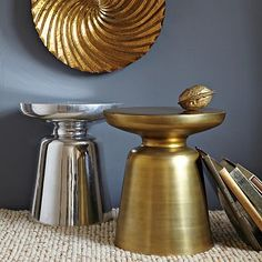 Martini Side Table - Antique Brass #WestElm Again a little round and metal sheen to break up all the square and wood.