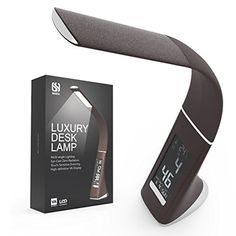 QIAYA 5W LED Gooseneck Desk Lamp with LCD Display Time Date Temperature and Alarm Brown *** Find out more about the great product at the image link. (This is an Amazon Affiliate link and I receive a commission for the sales)