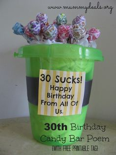 60th, 50th, 40th, 30th Birthday Candy Bar Poem with #free printable tags from @Clair @ Mummy Deals #gifts