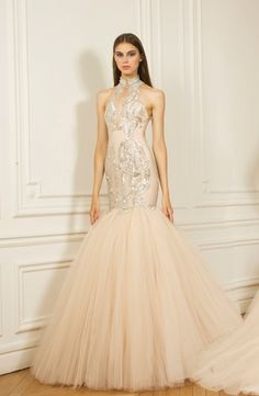 Mikael D Halter Fit And Flare In Beaded Embroidery Bridal Gown Styles Dresses