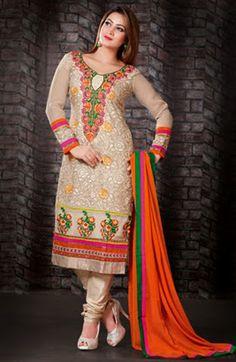 USD 58.98 Cream Resham Work Party Wear Salwar Kameez    36120