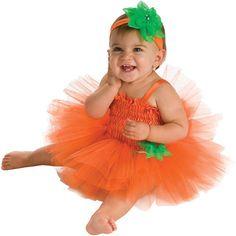 ** NEW **  Pumpkin Tutu Infant 6-12M Halloween Costume Girl Orange & Green #Rubies #CompleteCostume