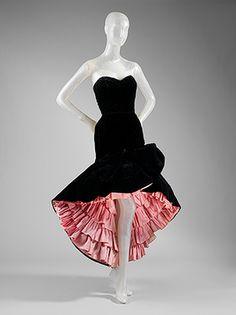Evening Dress, 1951 Cristobal Balenciaga (Spanish, 1895–1972) Black silk velvet, pink silk taffeta