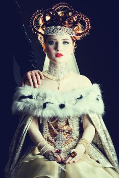 """quaintrelle-style: """" Russian Royalty Photoshoot from Doe Deere """" Doe Deere, Russian Fashion, Russian Style, King Queen, Red Queen, Queen Hair, Snow Queen, Lady, Character Inspiration"""
