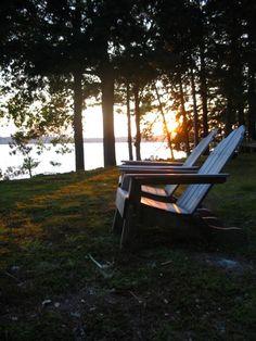 Adirondack Chairs at Sunset