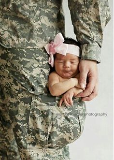 """So cute. the caption says: """"Daddy will always protect you baby girl"""" Army, marine, fatigues and newborn."""