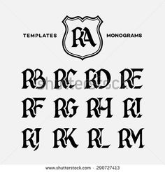 Monogram design template with combinations of capital letters RA RB RC RD RE RF RG RH RI RJ RK RL RM. Vector illustration.