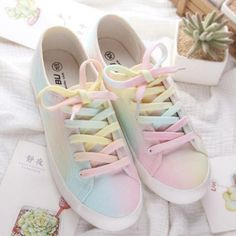 Cute Rainbow Canvas Flat Shoes 3 Colors YV2093