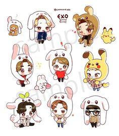 57 Ideas Drawing Cute Baby Kawaii Naruto Chibi, Chibi Manga, Chibi Bts, Kpop Exo, Exo Xiumin, Exo Stickers, Cute Stickers, Chibi Tutorial, Stickers