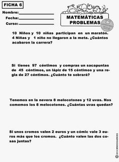 Fichas de repaso imprimibles. Tema: problemas de suma y resta 4to ...