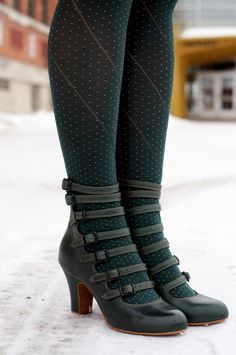 Winnipeg Style fashion, Miss L Fire green Elizabeth vintage inspired buckle boots shoes