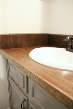 Kitchen Countertop DIY wood Bathroom Countertop: how we replaced our ugly formica countertops in one weekend - Tired of those ugly countertops? Looking for an easy solution? Here's how we made a DIY wood Bathroom countertop in just one weekend. Countertop Redo, Diy Wood Countertops, Countertop Options, Wood Bathroom, Small Bathroom, Bathroom Ideas, Wooden Bathroom Countertop, Kitchen Wood, Bathroom Remodeling