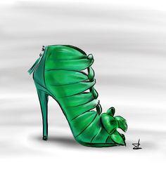 vintage shoe design by Roger Vivier for Christan Dior in 1959 / throwback / illustration by Linda Zoon