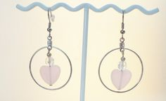Hoop Earrings with Clear Crystal and Pink Glass Heart in the Center by TrinketsbyTeri on Etsy