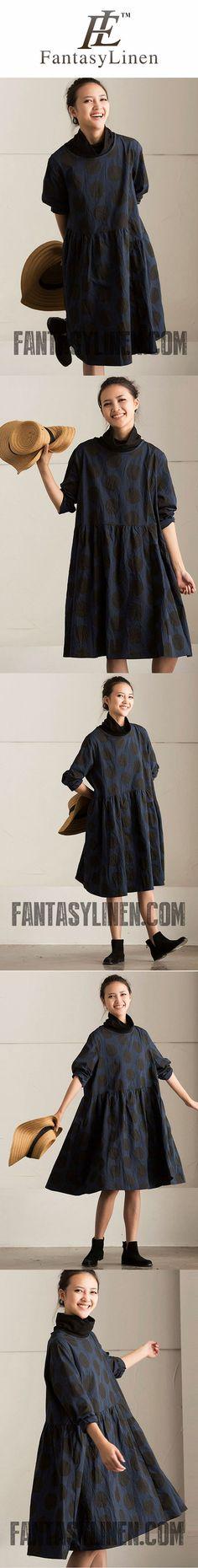 FantasyLinen Women Dot Plus Size Vintage Loose Dress, Casual Long Sleeve Dress Q5702A