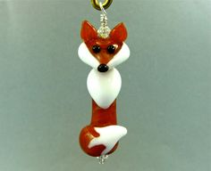 Fox Pendant - Lampwork Glass Beads SRA by SUZOOM on Etsy