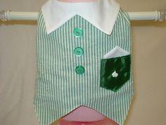 Spring/Summer Green Striped Boys Dog Vest by barkingbabes on Etsy, $26.00