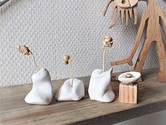 Four miniature clay soliflores, raffia flowers; Ceramic Clay, Ceramic Vase, Ceramic Pottery, Slab Pottery, Thrown Pottery, Pottery Sculpture, Sculpture Clay, Ceramic Sculptures, Diy Clay