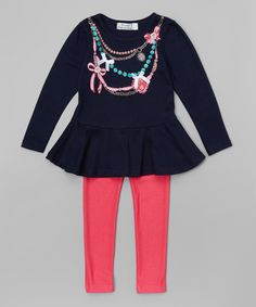 Look what I found on #zulily! Navy Necklace Peplum Top & Pink Jeggings - Girls #zulilyfinds